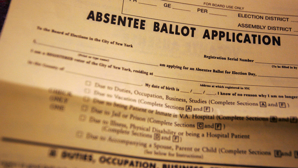 NEW YORK - OCTOBER 29:  An absentee ballot is shown October 29, 2004 in Brooklyn, New York. Thousands of New Yorkers are casting their votes early this year.  (Photo by Chris Hondros/Getty Images)