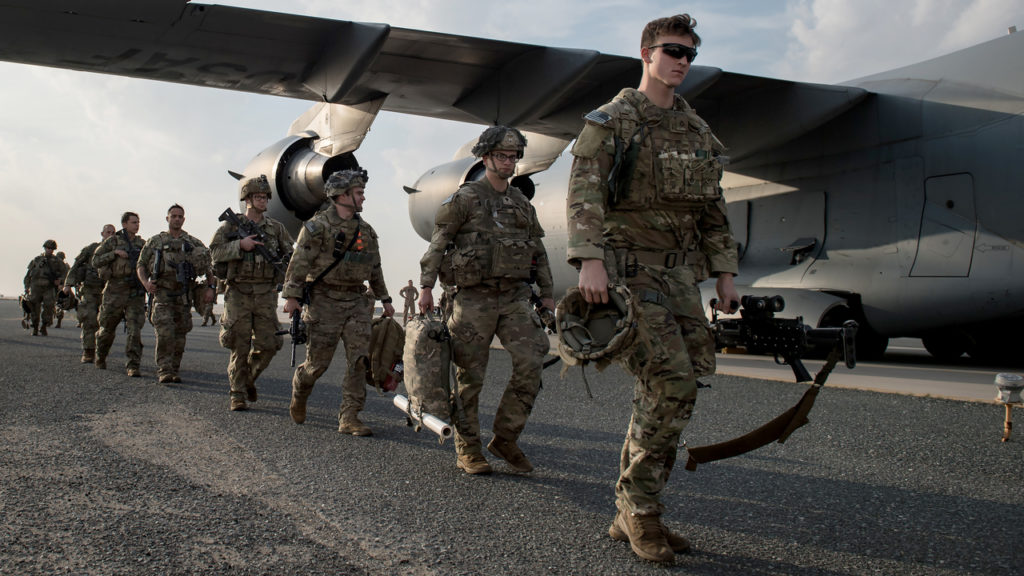 U.S. Army Paratroopers from the 82nd Airborne Division arrive at Ali Al Salem Air Base, Kuwait, Jan. 2, 2020. This deployment is an appropriate and precautionary action taken in response to increased threat levels against U.S. personnel and facilities in the CENTCOM area of responsibility. (U.S. Air Force photo by Tech. Sgt. Daniel Martinez)
